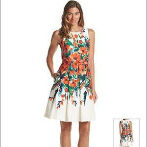 🆕 Eliza J® Belted Floral Fit And Flare Dress 8